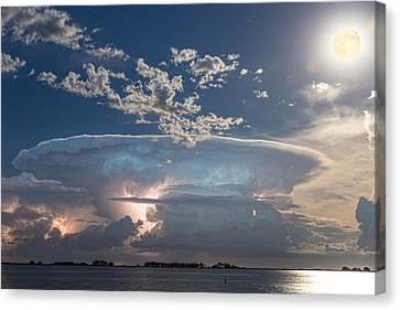 Full Moon Lake Storm Canvas Print