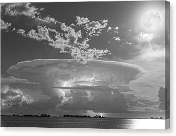 Full Moon Lightning Storm In Black And White Canvas Print by James BO  Insogna