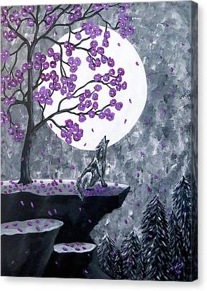 Canvas Print featuring the painting Full Moon Magic by Teresa Wing