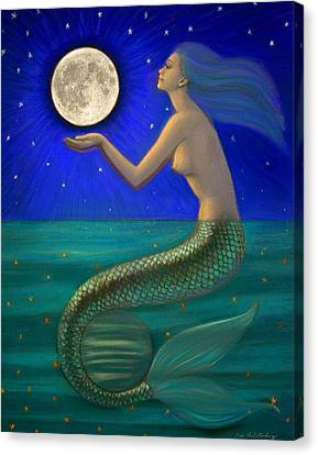 Full Moon Mermaid Canvas Print by Sue Halstenberg