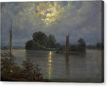 Full Moon Near Pillnitz Canvas Print by MotionAge Designs