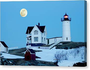 Nubble Lighthouse Canvas Print - Full Moon Nubble by Greg Fortier