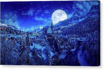 Hdr Landscape Canvas Print - Full Moon Over A Winter Wonderland by Pixabay