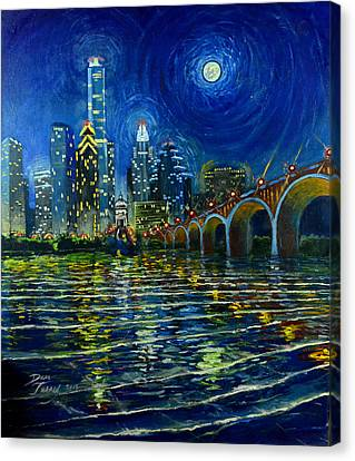 Full Moon Over Austin Canvas Print by Dan Terry
