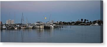 Full Moon Over Clearwater Beach Marina Canvas Print