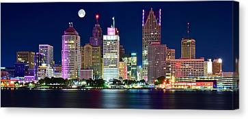 Full Moon Over Detroit Canvas Print by Frozen in Time Fine Art Photography