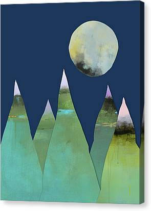 Full Moon Over Green Mountains Canvas Print