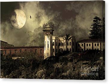 Full Moon Over Hard Time San Quentin California State Prison 7d18546 V2 Sepia Canvas Print by Wingsdomain Art and Photography