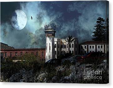 Full Moon Over Hard Time San Quentin California State Prison 7d18546 V2 Canvas Print by Wingsdomain Art and Photography