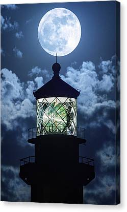 Full Moon Over Hillsboro Lighthouse In Pompano Beach Florida  Canvas Print by Justin Kelefas