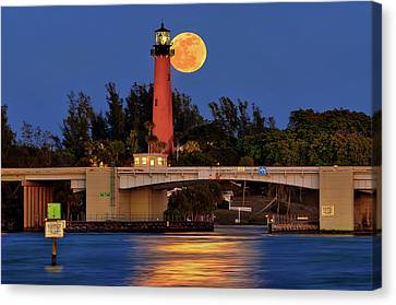 Full Moon Over Jupiter Lighthouse, Florida Canvas Print by Justin Kelefas