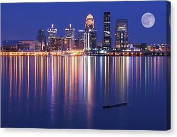 Kentucky Wildcats Canvas Print - Full Moon Over Louisville by Frozen in Time Fine Art Photography