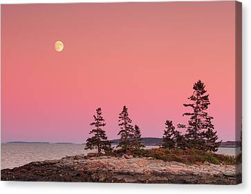 Canvas Print featuring the photograph Full Moon Over Maine  by Emmanuel Panagiotakis