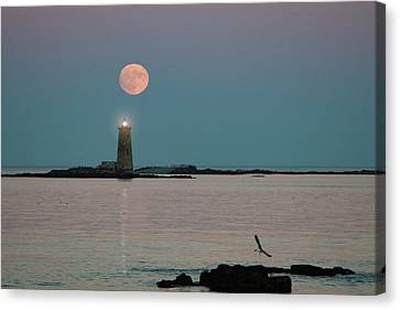 Full Moon Over Maine Lighthouse Canvas Print by Jeff Folger