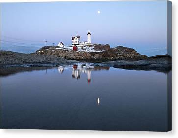 Full Moon Over Nubble Lighthouse Canvas Print by Eric Gendron