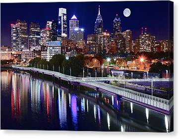 Full Moon Over Philly Canvas Print by Frozen in Time Fine Art Photography