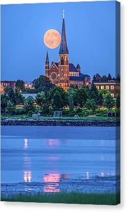 Full Moon Over Portland Cathedral Canvas Print by Tim Sullivan