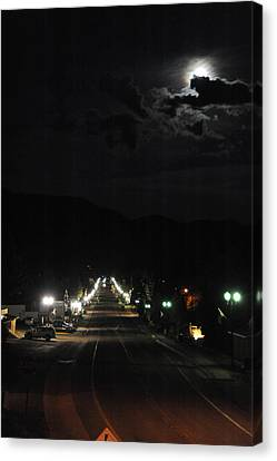 Full Moon Over Red River Canvas Print