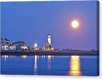 Canvas Print featuring the photograph Full Moon Over Scituate Light by Susan Cole Kelly
