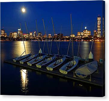 Full Moon Over The Charles River Boston Ma Canvas Print by Toby McGuire