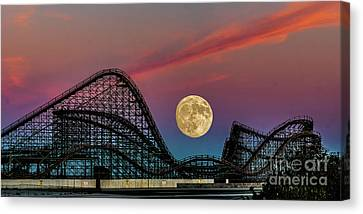Full Moon Over The Coaster Canvas Print by Nick Zelinsky