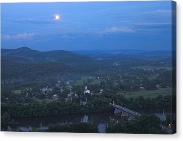 Full Moon Over The Connecticut River Valley Canvas Print by John Burk