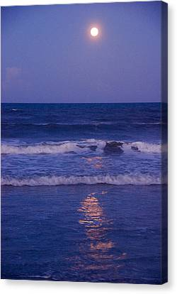 Reflections Of Nature Canvas Print - Full Moon Over The Ocean by Susanne Van Hulst