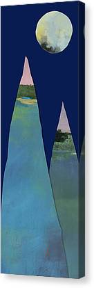 Full Moon Over Two Tall Mountains  Canvas Print