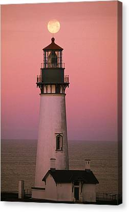 Full Moon Over Yaquina Head Light Canvas Print by Natural Selection Craig Tuttle