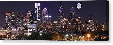 Full Moon Philly Panorama Canvas Print by Frozen in Time Fine Art Photography