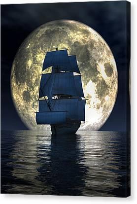 Full Moon Pirates Canvas Print by Daniel Eskridge