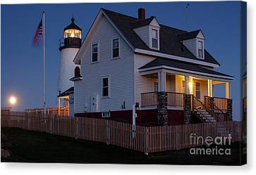 Full Moon Rise At Pemaquid Light, Bristol, Maine -150858 Canvas Print by John Bald