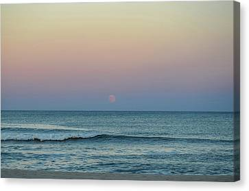 Full Moon Rise Seaside Nj October 2013 Canvas Print by Terry DeLuco