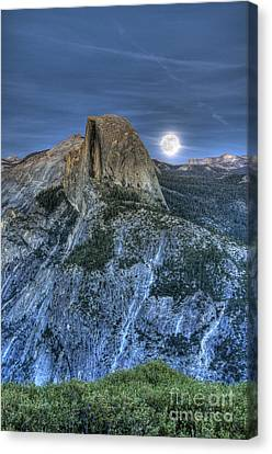 Full Moon Rising Behind Half Dome Canvas Print by Jim and Emily Bush