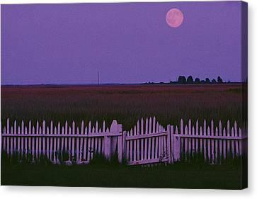 Full Moon Rising Over A Picket Fence Canvas Print by Robert Madden