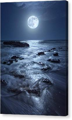 Full Moon Rising Over Coral Cove Beach In Jupiter, Florida Canvas Print by Justin Kelefas