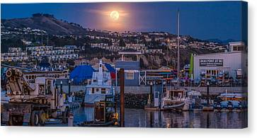 Sea Moon Full Moon Canvas Print - Full Moon Rising Over Dana Point Jet Ski Rental by Scott Campbell