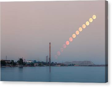Full Moon Rising Over Industrial Landscape Canvas Print by Nickolay Khoroshkov