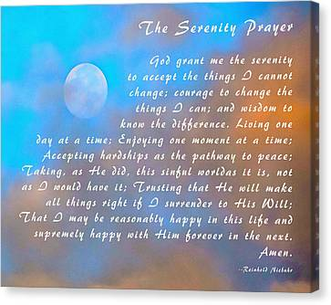 Canvas Print featuring the photograph Full Moon Serenity Prayer Digital by Floyd Snyder