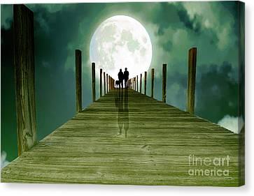 Full Moon Silhouette Canvas Print by Mim White