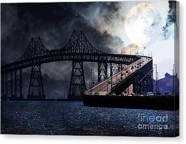 Full Moon Surreal Night At The Bay Area Richmond-san Rafael Bridge - 5d18440 Canvas Print