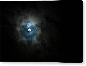 Full Moon Through The Clouds Canvas Print by Malcolm Ainsworth