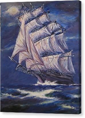 Full Sails Under Full Moon Canvas Print by Thomas Restifo