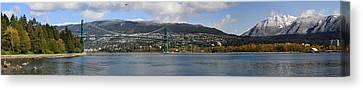 Full View Of The Lion's Gate Bridge Vancouver City  Canvas Print by Pierre Leclerc Photography