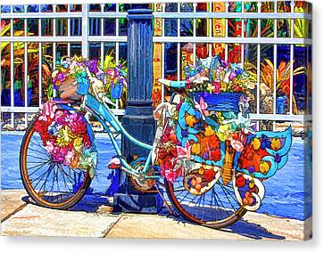 Bicycle With Flowers Canvas Print - Fun And Whimsy 2 by HH Photography of Florida