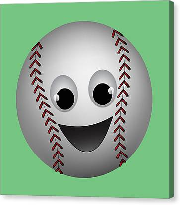 Fun Baseball Character Canvas Print by MM Anderson