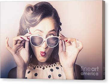 Fun Comical Retro Fashion Portrait. Pin-up Pout Canvas Print
