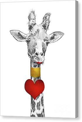 Fun Giraffe All Dressed Up With Lipstick And Heart Necklace Canvas Print by Apostrophe Art