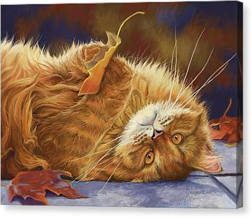 Hand Canvas Print - Fun In The Fall by Lucie Bilodeau