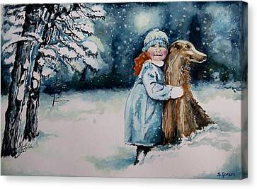 Canvas Print featuring the painting Fun In The Snow by Geni Gorani